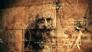 A striking 3d rendering of code Da Vinci with the portrait of the Italian master, a human skull, some crane, inscriptions and the Vitruvian man showing the anatomy of a man.